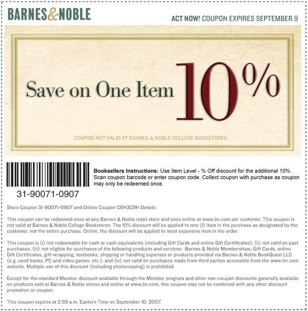 Barnesandnoble com coupon code