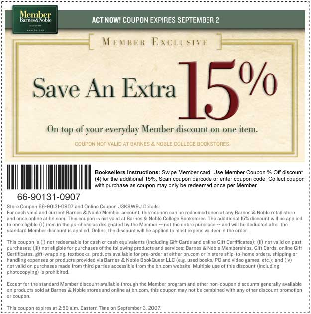 Barnesandnoble com coupon code