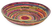 Product Image. Title: Recycled Newspaper Twine Multi-Color Handcrafted Woven Bowl (11.5x2.75)