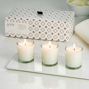 Product Image. Title: Goat Milk & Linseed Votive Trio Set