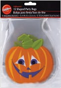 "Product Image. Title: Shaped Party Bags 6""X9"" 15/Pkg-Polka Dot Pumpkin"