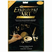 "Product Image. Title: Foil Engraving Art Blank Boards 8""X10"" 6/Pkg-Gold"