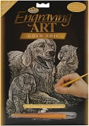 "Product Image. Title: Gold Foil Engraving Art Kit 8""X10""-Golden Retriever & Puppies"