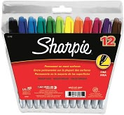 Product Image. Title: Sharpie Fine Point Permanent Markers 12/Pkg-Assorted Colors
