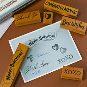 Product Image. Title: Greetings Rubber Stamps