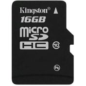 Product Image. Title: Kingston SDC10/16GB 16 GB MicroSD High Capacity (microSDHC) - 1 Card