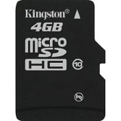 Product Image. Title: Kingston SDC10/4GB 4 GB MicroSD High Capacity (microSDHC) - 1 Card