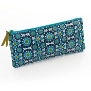 Product Image. Title: Jonathan Adler Meadow Mosaic Blue Teal Pencil Pouch (4x9)