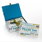 Product Image. Title: Jonathan Adler Words Blue/Green Thank You Note Cards Set of 20