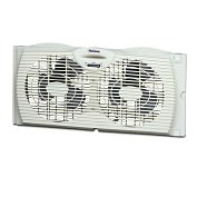 "Product Image. Title: Holmes HAWF2021 7"" Twin Window Fan with Adjustable Extender Screen"