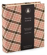 Product Image. Title: Black and Tan Plaid Travel Photo Album