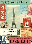 Product Image. Title: Vintage Paris Travel Paper Bound Mini Journals 4 X 5.5 Set of 3