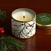 Product Image. Title: Balsam &amp; Cedar Mini Pillow Tin Candle