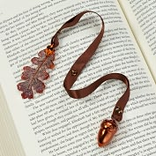 Product Image. Title: Lacy Oak Leaf &amp; Acorn Copper Ribbon Bookmark