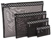 Product Image. Title: Quatrefoil Black & White Mesh Pouch set of 4