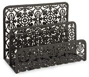 Product Image. Title: Black Decorative Metal Two Tier Letter Holder 6.75 x 5.25 x 3