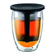 Product Image. Title: Bodum Tea for One, Double Wall, 12 oz & Tea Strainer - Black