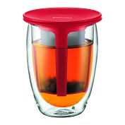 Product Image. Title: Bodum Tea for One, Double Wall, 12 oz & Tea Strainer - Red