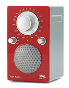 Product Image. Title: Tivoli Audio PALIPALR PAL Silver Cabinet/Gloss Red Face