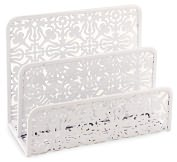 Product Image. Title: White Decorative Metal Two Tier Letter Holder 6.75 x 5.25 x 3