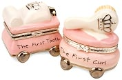 Product Image. Title: Princess Collection First Tooth and Curl Ceramic Treasure Box