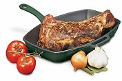 Product Image. Title: Chasseur Red Rectangular Grill - Cast Iron Handle