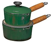 "Product Image. Title: Chasseur 7 7/8"" Green Enamel Cast Iron Sauce Pan - Wooden Handle"