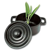 "Product Image. Title: Paderno World Cuisine 4"" Black Round Dutch Oven with Black Knob"