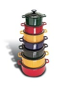"Product Image. Title: Paderno World Cuisine 11"" Red Round Enamel Cast Iron Dutch Oven - with lid"