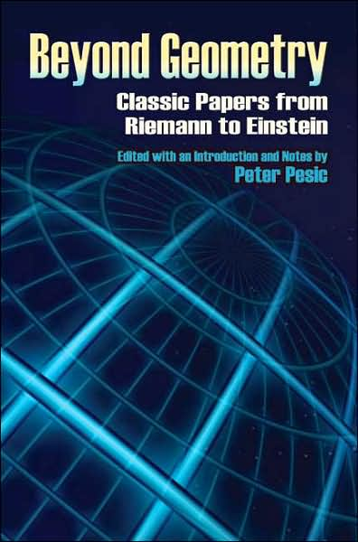 The cover of Pesics Beyond Geometry, depicting a Euclidean plane projected upon a sphere.