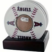 Product Image. Title: Los Angeles Angels of Anaheim Coasters with Game Used Dirt - Set of 4