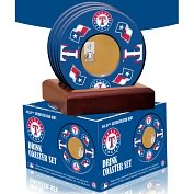 Product Image. Title: Texas Rangers Coasters with Game Used Dirt - Set of 4