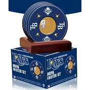 Product Image. Title: Tampa Bay Rays Coasters with Game Used Dirt - Set of 4