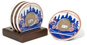 Product Image. Title: New York Mets Coasters with Game Used Dirt - Set of 4