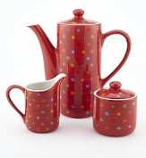 Product Image. Title: Polka Dot Coffee/Teapot, Creamer & Sugar Bowl Gift Set, 20 oz