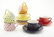 Product Image. Title: Polka Dot Tea Cup & Saucer Gift Set, 7 oz