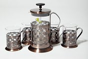 Product Image. Title: Coffee &amp; Tea Press Gift Set, Copper