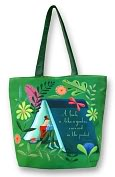 Product Image. Title: Sarah Wilkins Garden in Your Pocket Green Microfiber Tote Bag (16.5x13.5x5.5)
