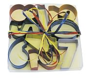 Product Image. Title: Number Cookie Cutters Set Boxed with Raffia Tie