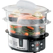 Product Image. Title: Hamilton Beach 37537 Digital Two-Tier Food Steamer
