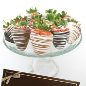 Product Image. Title: 12 Belgian Chocolate Covered Strawberries- Milk, White & Dark Assortment