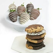 Product Image. Title: 12 pc. Belgian Chocolate Covered Strawberries & Cookies Assortment
