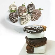 Product Image. Title: 10 pc. Belgian Chocolate Covered Strawberries & Brownies Assortment