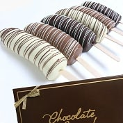 Product Image. Title: 6 Belgian Chocolate Covered Bananas