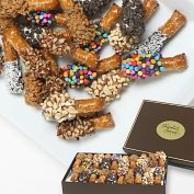 Product Image. Title: 20 pc. Belgian Chocolate Covered Mini-Pretzel Sticks