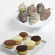 Product Image. Title: 12 pc. Chocolate Covered Strawberries & Mini-Cheesecakes Assortment