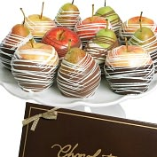 Product Image. Title: 12 Gourmet Belgian Chocolate Apples &amp; Pears