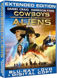 Cowboys & Aliens Extended Edition starring Daniel Craig: Blu-ray Cover