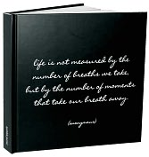 "Product Image. Title: Life is Not Measured Black and White Quote Lined Bound Journal (8""x8"")"