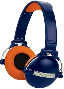 Product Image. Title: Retro Headphone - Blue and Orange Urban Beatz-Orange/Blue